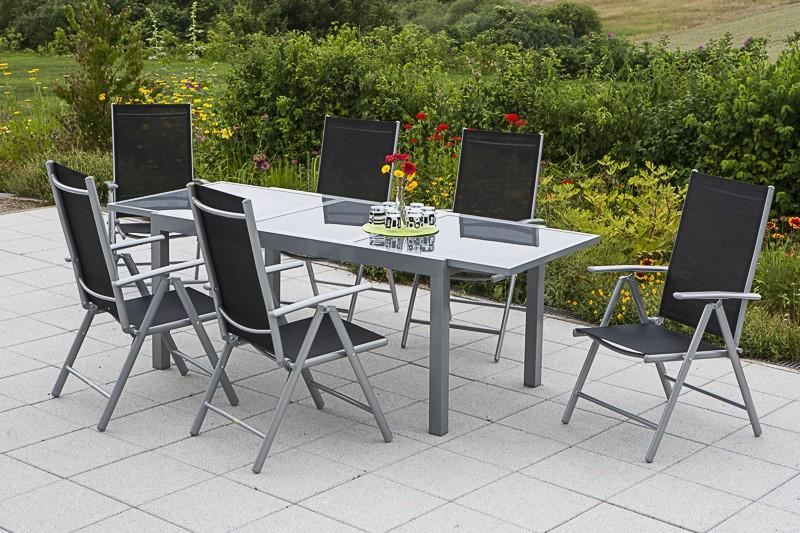 Gartenmöbelset Amalfi 7 teilig Aluminium schwarz