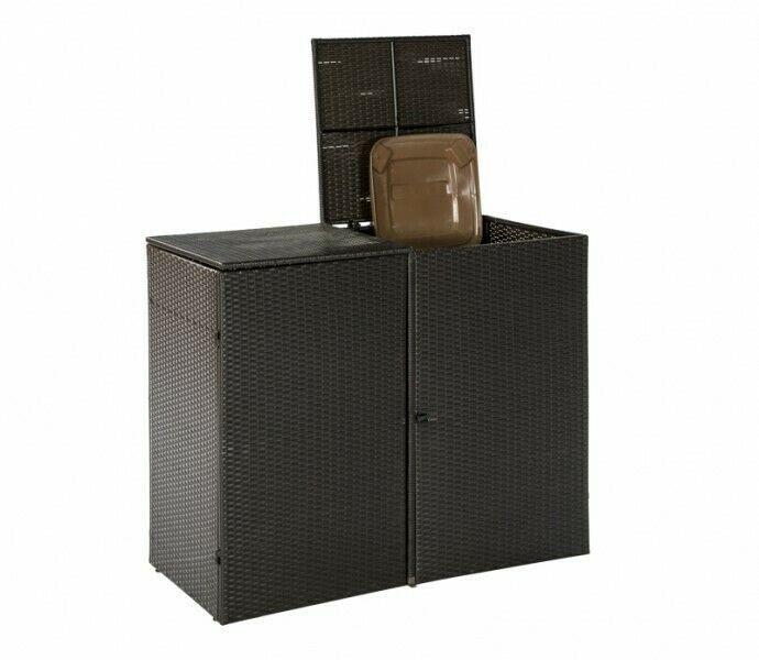 Mülltonnenabdeckung für 2 Tonnen groß bis 240 Liter Polyrattan braun