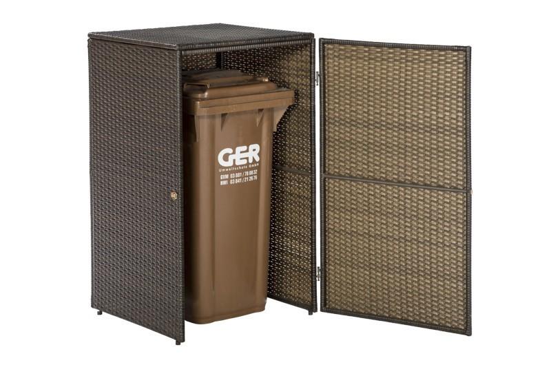 Mülltonnenbox für 1 Tonne bis 240 Liter Merxx Polyrattan braun