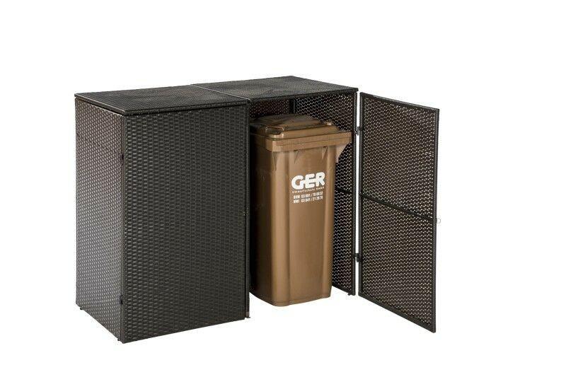 Mülltonnenabdeckung für 2 Tonnen klein 120 Liter, Polyrattan braun