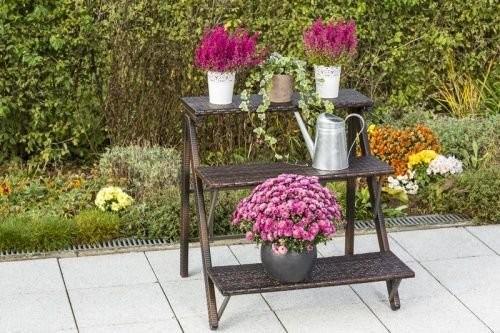 Dekoleiter Blumentreppe Merxx Polyrattan braun