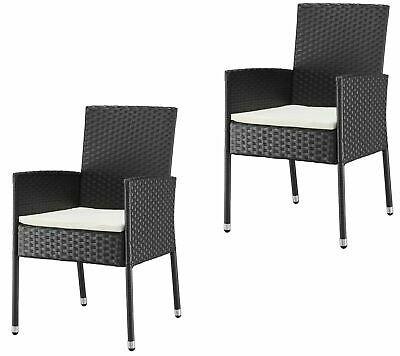 Costa Rica Stühle 2 er Set Merxx Polyrattan schwarz