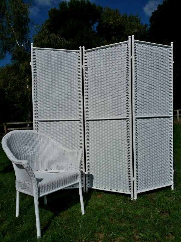 Paravent Merxx 3 Teilig Polyrattan Kunststoff Weiss