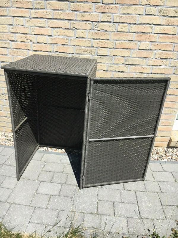 Mülltonnenbox für 1 Tonne bis 120 Liter Merxx Polyrattan grau