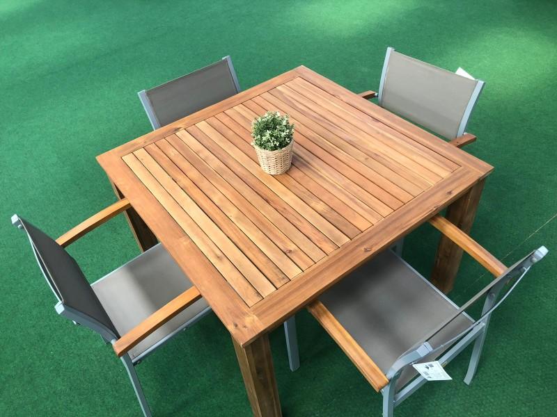 Dining Set Naxos 5 teilig Akazienholz Aluminium Textil
