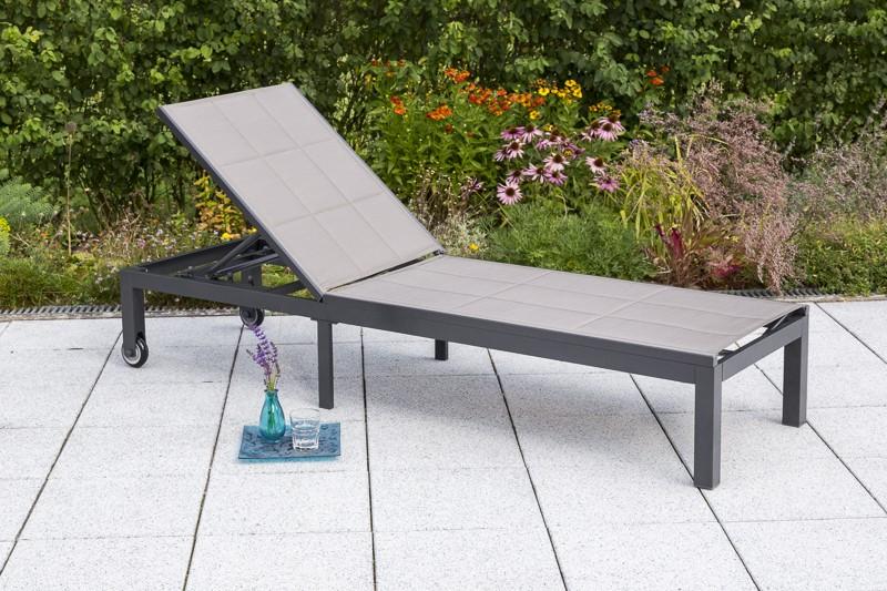 Gartenliege Trivero Merxx Aluminium Textil diamantbraun silber