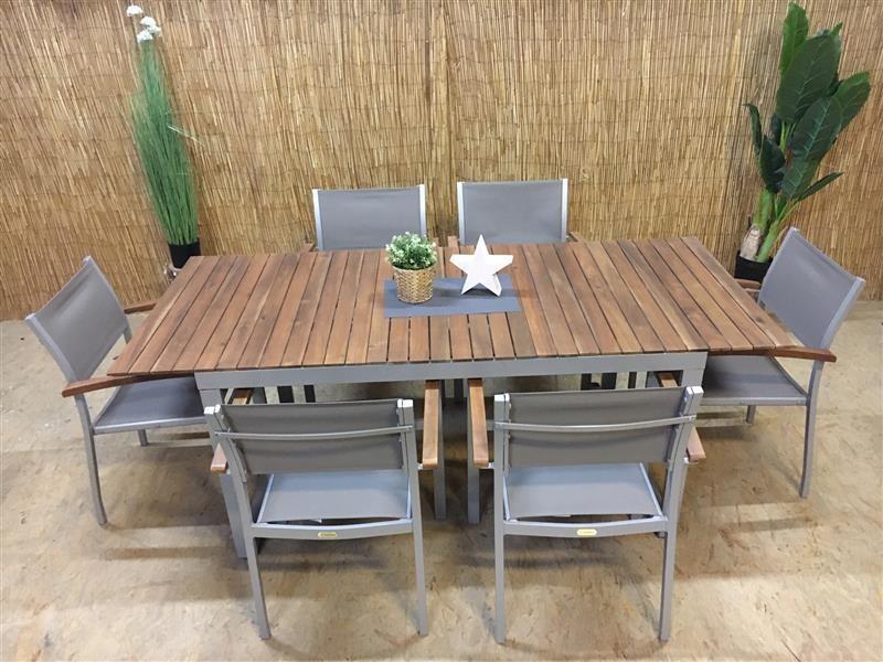 Dining Set Naxos 7 teilig Merxx Aluminium Akazienholz silber grau